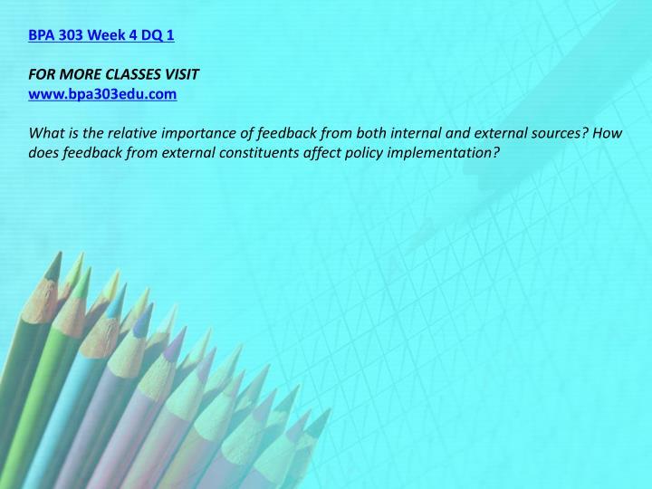 BPA 303 Week 4 DQ 1