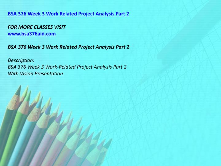 BSA 376 Week 3 Work Related Project Analysis Part 2