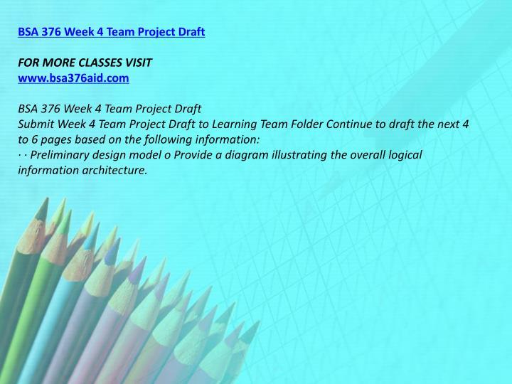 BSA 376 Week 4 Team Project Draft