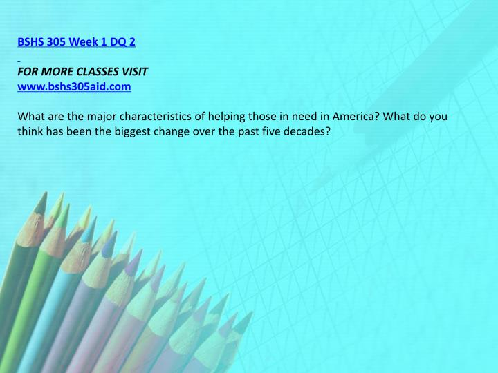 BSHS 305 Week 1 DQ 2