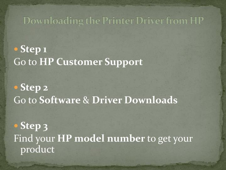 Downloading the printer driver from hp