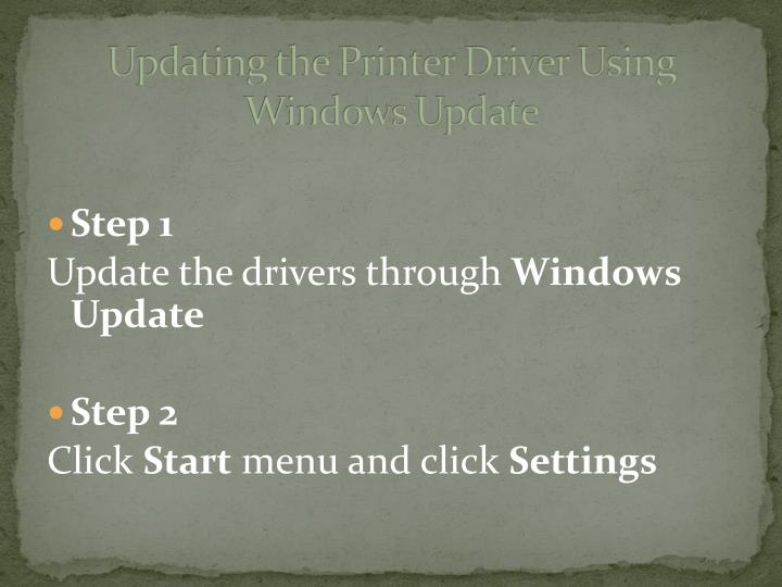 Updating the Printer Driver Using Windows Update
