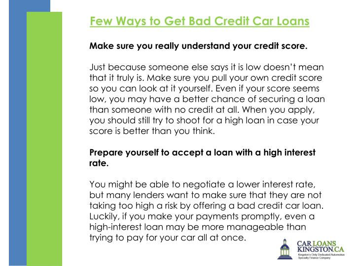 Few Ways to Get Bad Credit Car Loans