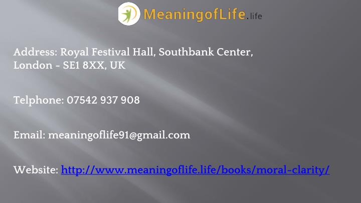 Address: Royal Festival Hall, Southbank Center,