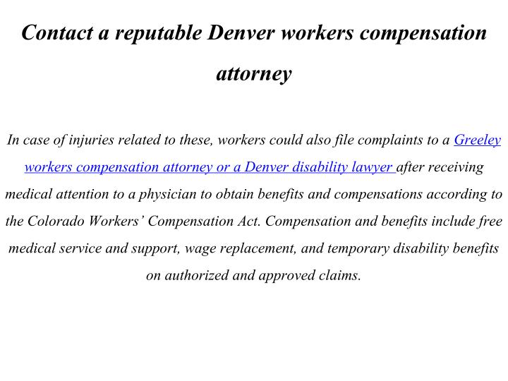 Contact a reputable Denver workers compensation attorney