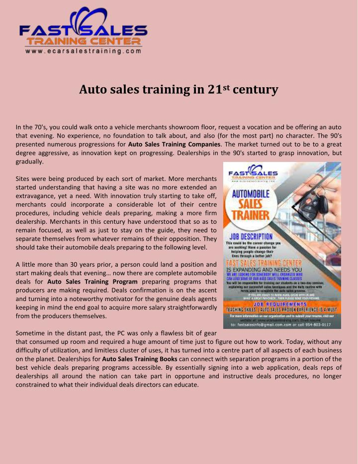 Auto sales training in 21