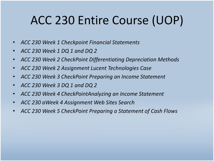 Acc 230 entire course uop