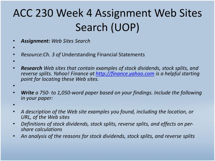 ACC 230 Week 4 Assignment Web Sites Search (UOP)