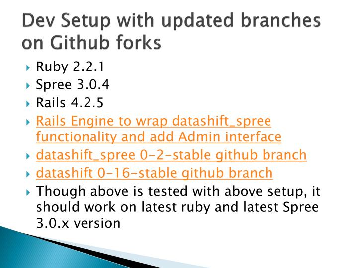 Dev Setup with updated branches on