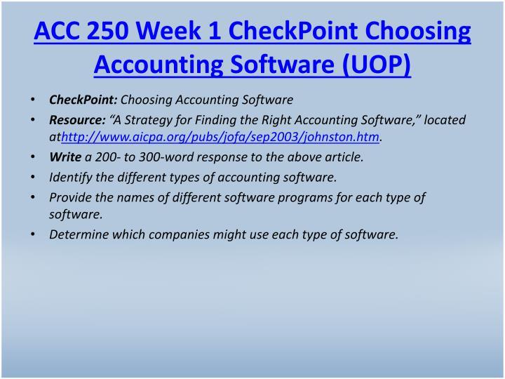 ACC 250 Week 1