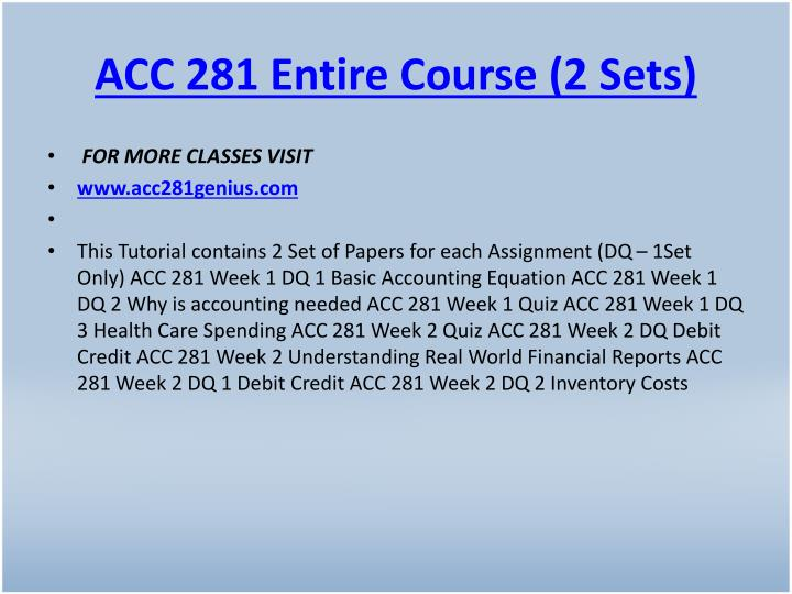 Acc 281 entire course 2 sets