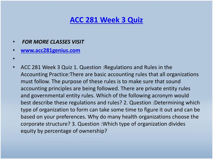 ACC 281 Week 3 Quiz