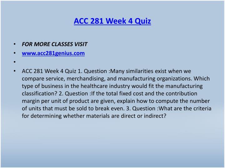 ACC 281 Week 4 Quiz