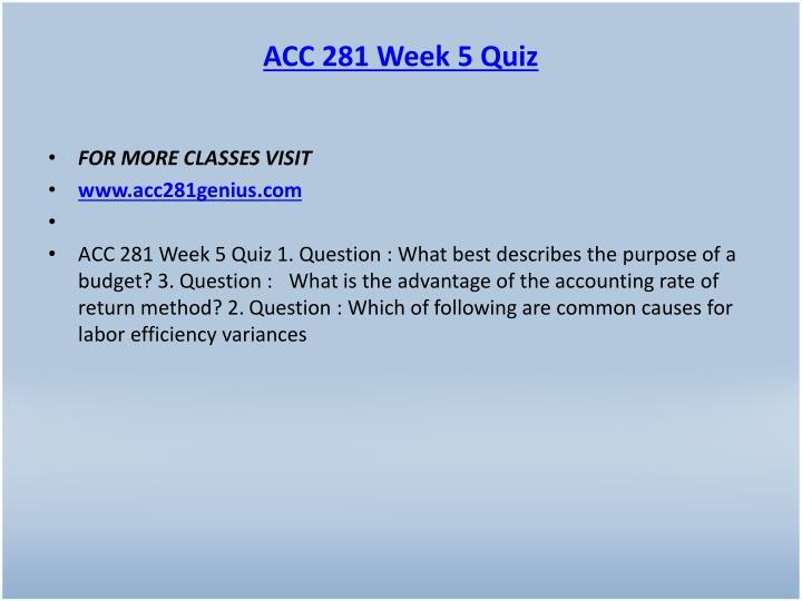 ACC 281 Week 5 Quiz