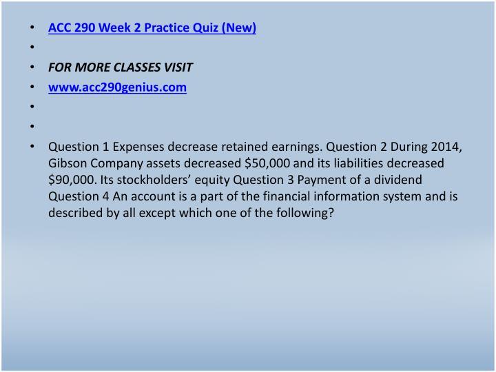 ACC 290 Week 2 Practice Quiz (New)