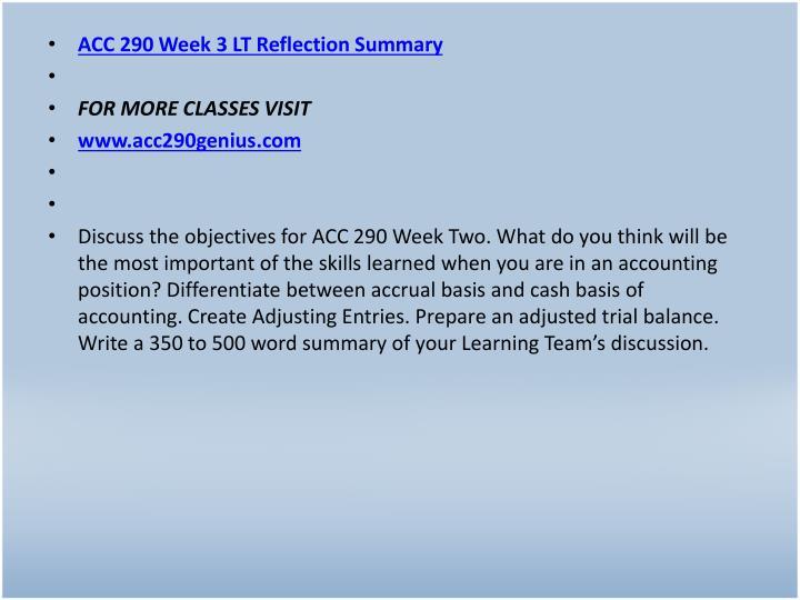 ACC 290 Week 3 LT Reflection Summary