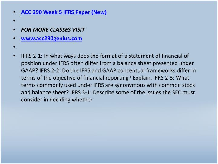 ACC 290 Week 5 IFRS Paper (New)