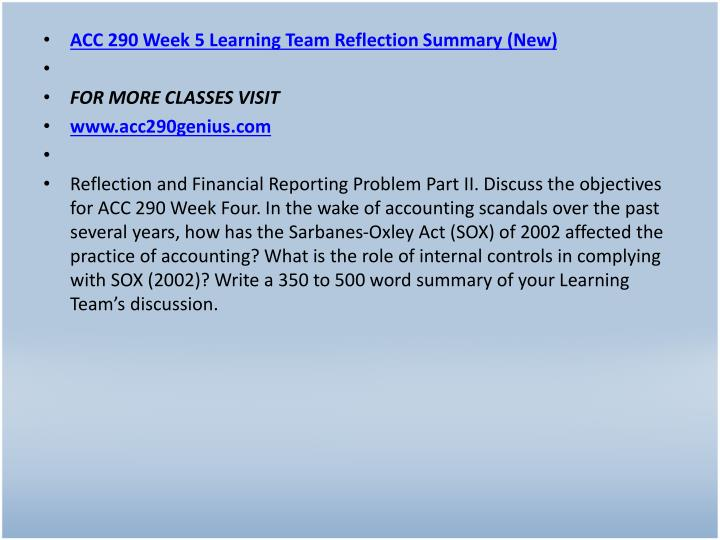 ACC 290 Week 5 Learning Team Reflection Summary (New)