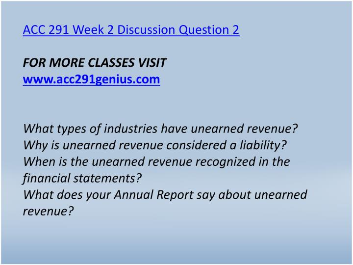 ACC 291 Week 2 Discussion Question 2