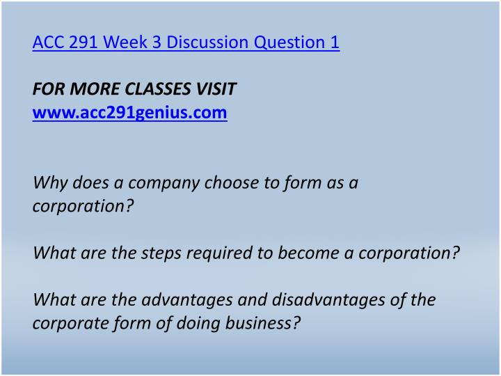 ACC 291 Week 3 Discussion Question 1