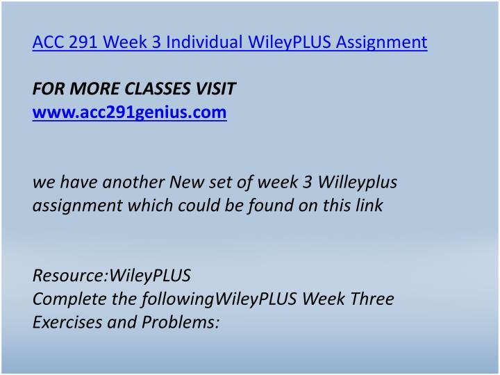 ACC 291 Week 3 Individual