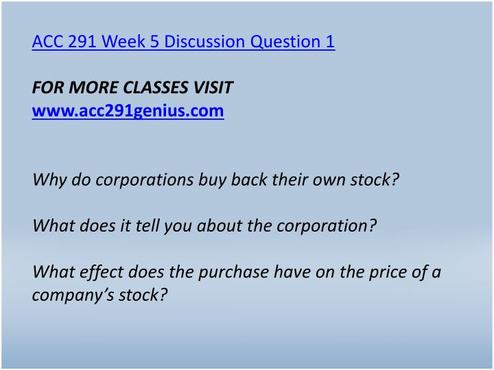 ACC 291 Week 5 Discussion Question 1