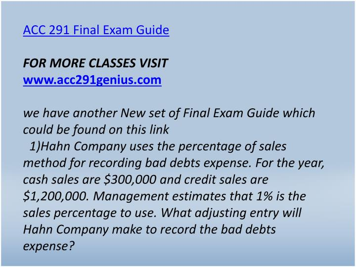 ACC 291 Final Exam Guide