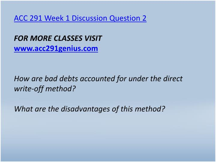 ACC 291 Week 1 Discussion Question 2