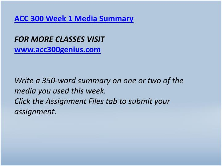 ACC 300 Week 1 Media Summary