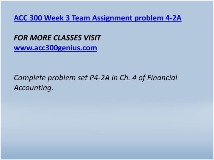 ACC 300 Week 3 Team Assignment problem 4-2A