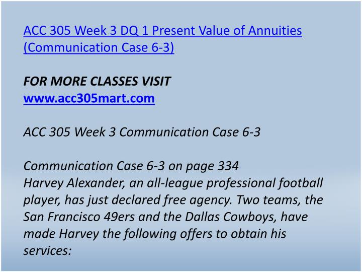 ACC 305 Week 3 DQ 1 Present Value of Annuities (Communication Case 6-3)