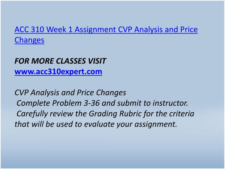 ACC 310 Week 1 Assignment CVP Analysis and Price Changes