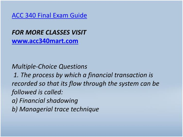 ACC 340 Final Exam Guide