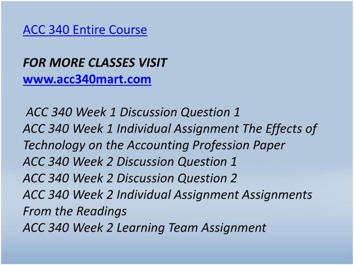 ACC 340 Entire Course