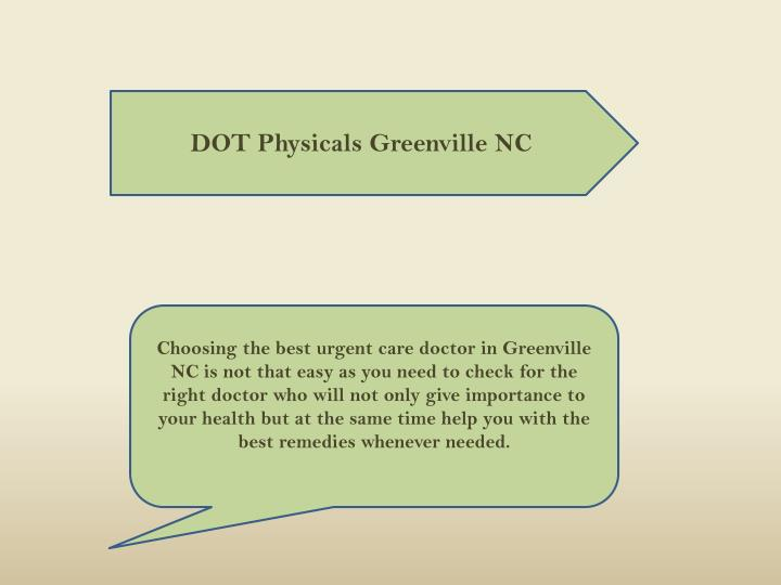 DOT Physicals Greenville NC