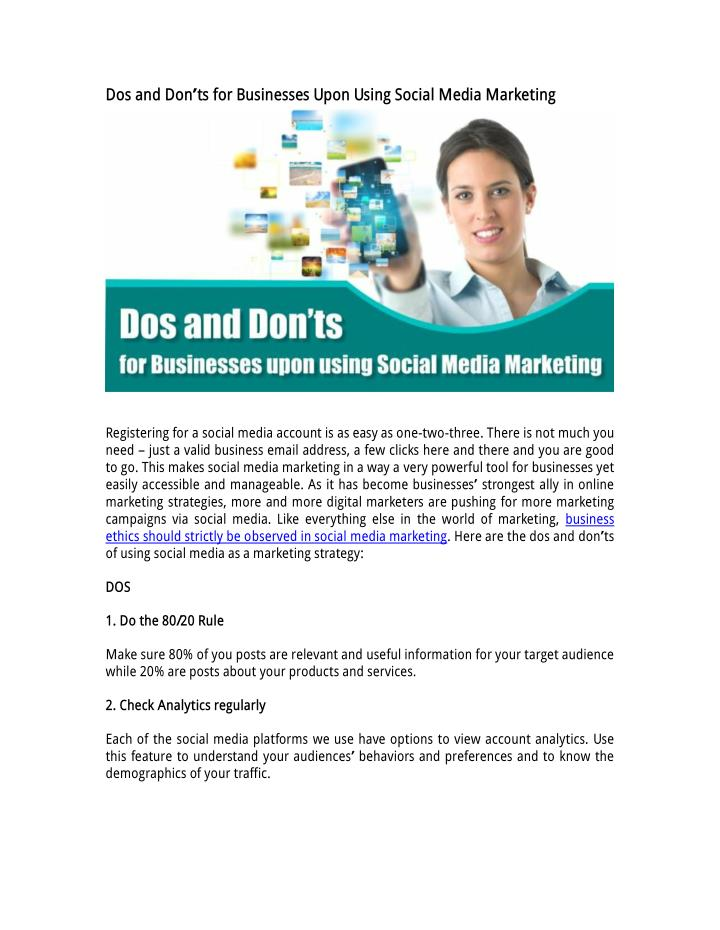 Dos and Don'ts for Businesses Upon Using Social Media Marketing