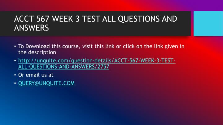 Acct 567 week 3 test all questions and answers1
