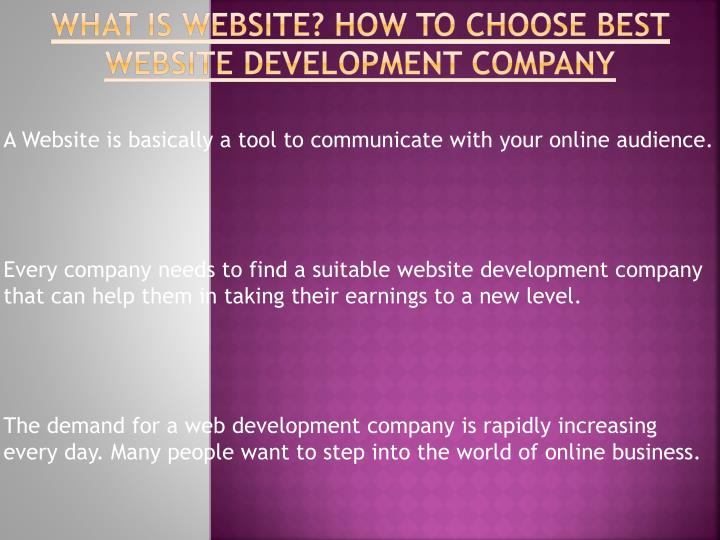 What is website how to choose best website development company