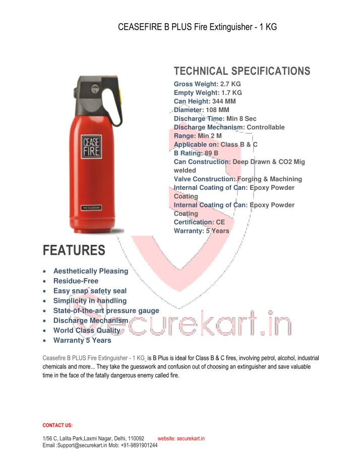 CEASEFIRE B PLUS Fire Extinguisher - 1 KG