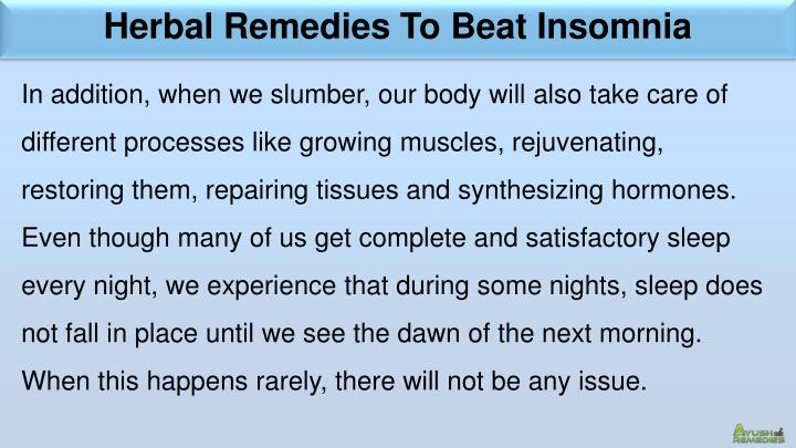 Herbal Remedies To Beat Insomnia
