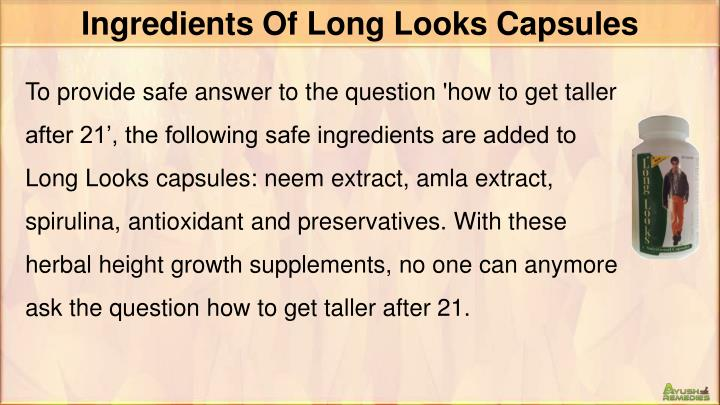 Ingredients Of Long Looks Capsules