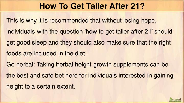 How To Get Taller After 21?