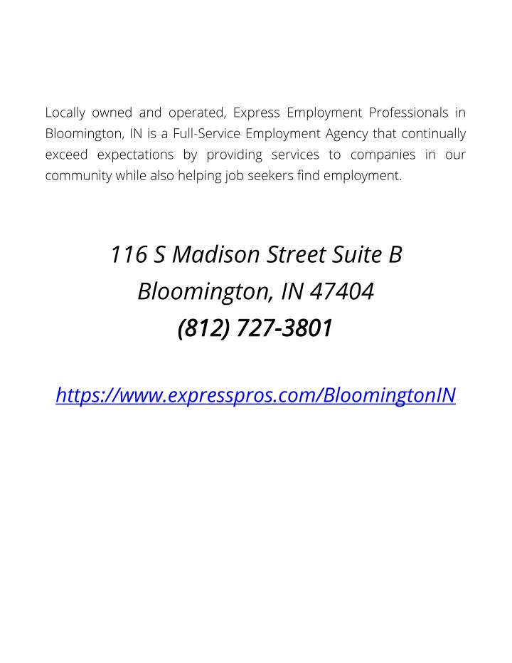 Locally owned and operated, Express Employment Professionals in