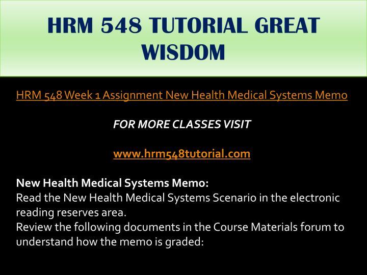 HRM 548 TUTORIAL GREAT WISDOM