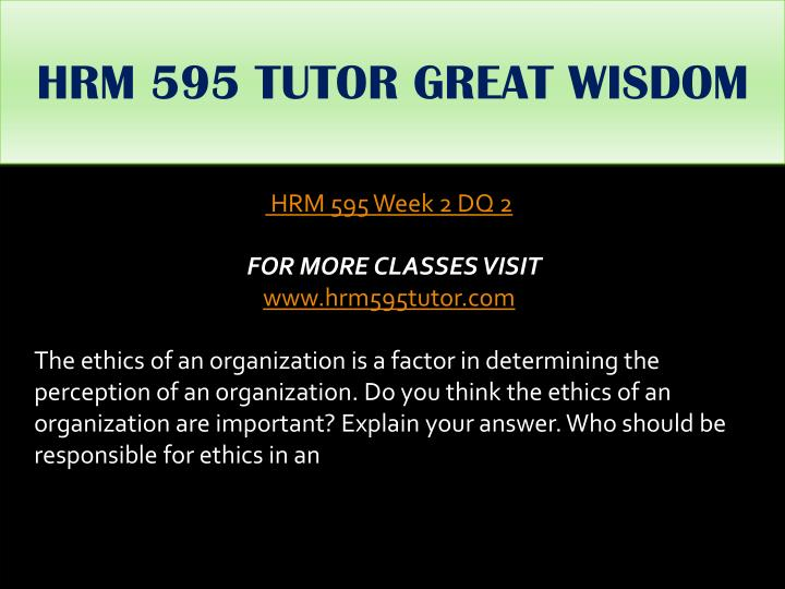 HRM 595 TUTOR GREAT WISDOM