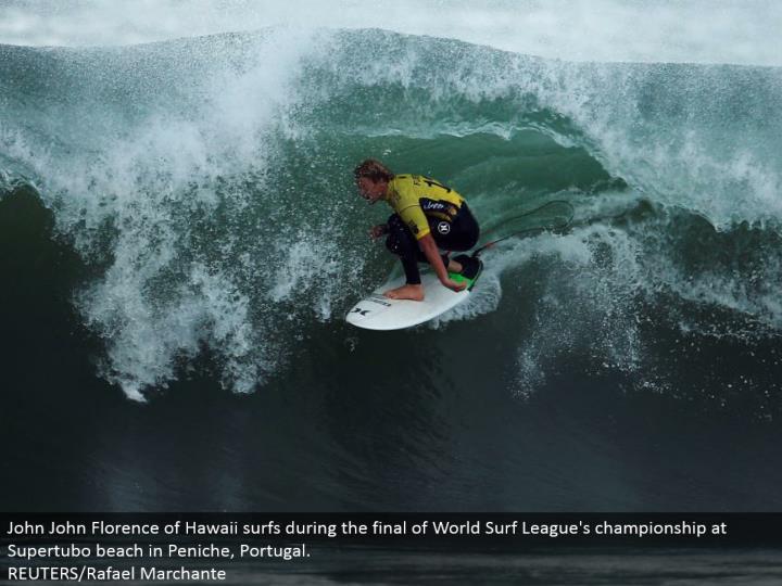 John John Florence of Hawaii surfs amidst the rest of World Surf League's title at Supertubo shoreline in Peniche, Portugal.  REUTERS/Rafael Marchante