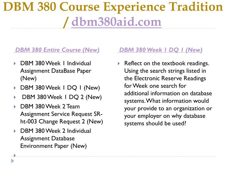 DBM 380 Course Experience Tradition /