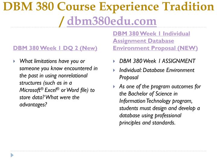 Dbm 380 course experience tradition dbm380edu com2