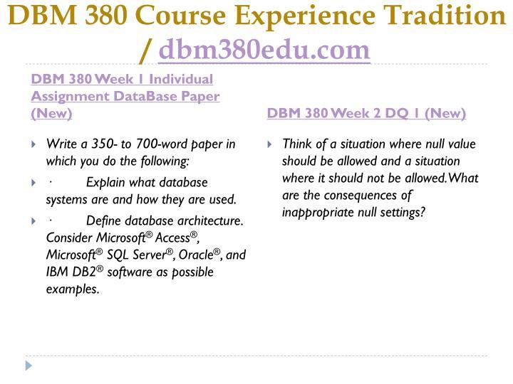 DBM 380 Course
