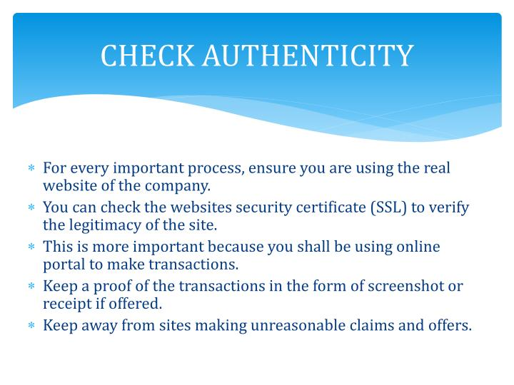 CHECK AUTHENTICITY